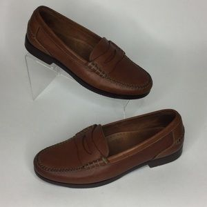 Bostonian brown oiled leather penny loafers